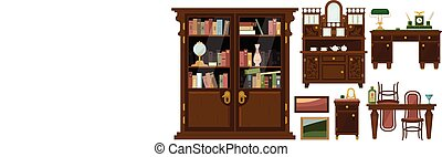 Collection of classic wooden furniture and elements of home decor