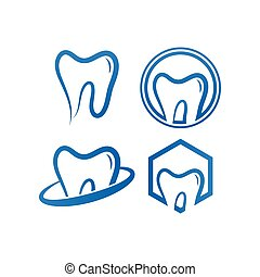 Collection of clean dental tooth logo design template
