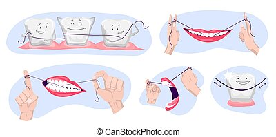 Collection of clean teeths. Dental floss. Use hygiene floss ...