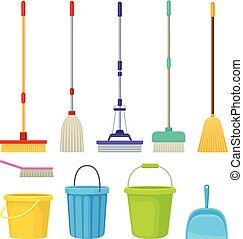 Collection of cleaning products. Vector illustration on white background.