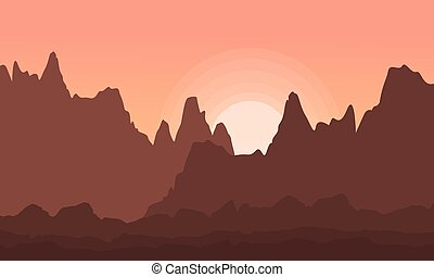 Collection of cliff landscape vector flat