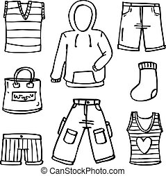 Collection of clothes accessories doodles
