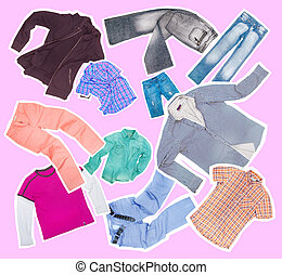 collection of clothes on a green background