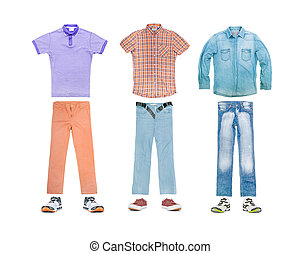 collection of clothes on a white background