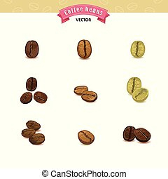 Collection of Coffee beans isolated on white background, vector illustrations
