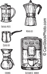 Collection of coffeemakers and automatic machine