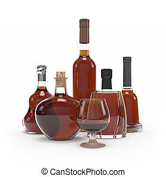 Collection of cognac bottles isolated 3d rendering
