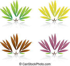 Collection of color leaf Vector Illustration.