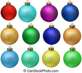 collection of colored christmas ornament . Isolated over white.