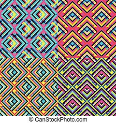 collection of colored geometric seamless backgrounds
