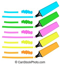 collection of colored highlighters with markings