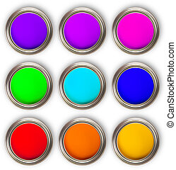 Collection of colored paints cans, up view, isolated on ...