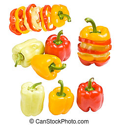 Collection of colored paprika
