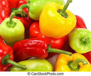 Collection of colored paprika isolated