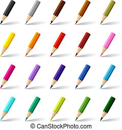 Collection of colored pencils on white background.