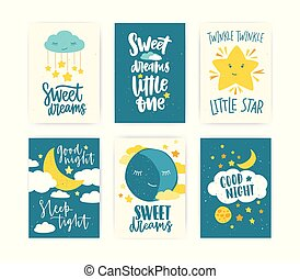 Collection of colored poster or flyer templates with Good Night and Sweet Dreams wishes handwritten with calligraphic cursive font, moon, clouds and stars. Childish flat cartoon vector illustration.