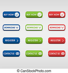 Collection of colored rectangular buttons vector eps 10