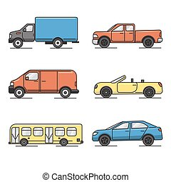 Collection of colored thin line transportation icons