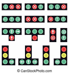 collection of colored traffic lights abstract symbols
