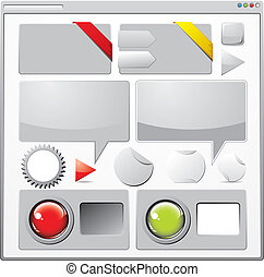 Collection of colored web elements