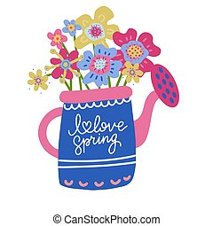 Collection of Colorful abstract Flowers in Watering Can Isolated On The White Background. Flat scandinavian hand drawn Style. Vector Illustration with hand lettering I love spring