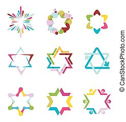 collection of colorful abstract star icons, symbols and graphic elements