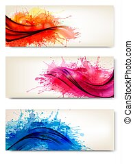 Collection of colorful abstract watercolor banners. Vector illustration.