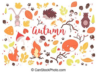 Collection of colorful autumn leaves, branches, cones, acorns, nuts, fruits, berries, mushrooms, burning bonfire and cute cartoon forest animals isolated on white background. Vector illustration.