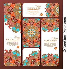 Collection of colorful banners and business cards. Vintage decorative templates.