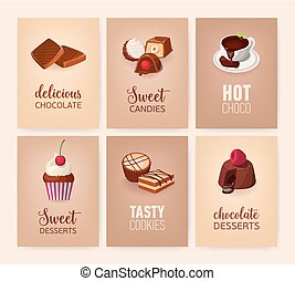 Collection of colorful banners with delicious desserts or tasty sweet courses and beverages - cookies, candies, hot chocolate, cakes. Vector illustration for cafe or confectionery advertisement.