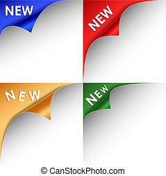 Collection of colorful bent corners new vector eps 10