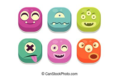Collection of colorful buttons emoticons with different emotions, emoji monsters vector Illustration