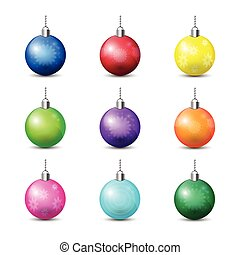Collection Of Colorful Christmas Balls Isolated On White Background Holiday Decoration Design
