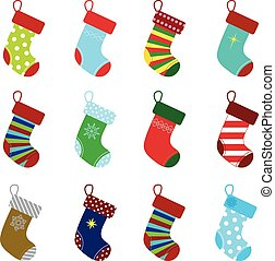 christmas socks - collection of colorful christmas socks for...