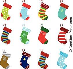 christmas socks - collection of colorful christmas socks for...