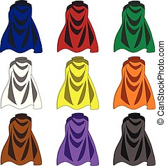 Collection of Colorful Cloaks isolated on white background. Colored Cartoon Capes. Vector Illustration for Your Design, Game, Card.