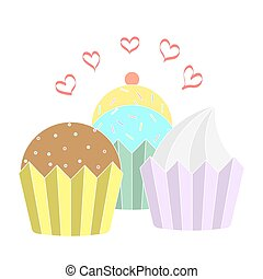 Collection of colorful cupcake