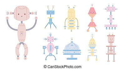 Collection of colorful cute smiling robots isolated on white background. Bundle of different toy cyborgs, funny electronic monsters or mechanical creatures. Cartoon characters. Vector illustration.