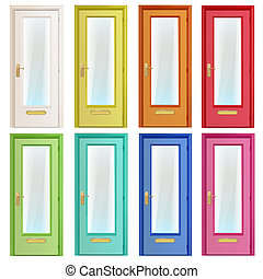 Collection of colorful doors with glass. Vector design.