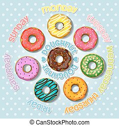 Collection of colorful doughnut - color of day in one week...