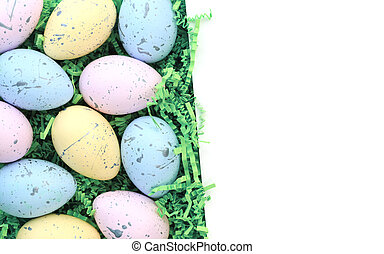 Collection of colorful Easter eggs with blank white space