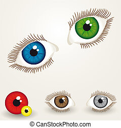 eyes - collection of colorful eyes with easy to edit pupil