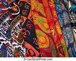 Collection of colorful fabrics in a market Kathmandu Nepal
