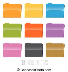 Collection of Colorful File Folders
