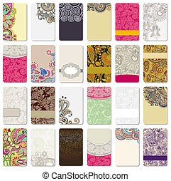 ornamental business card - collection of colorful floral ...