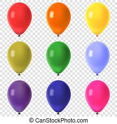 Collection of colorful flying balloons isolated on transparent background, vector illustration