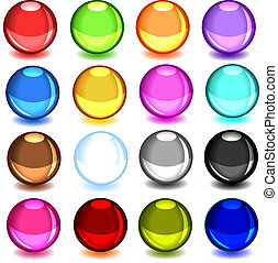Collection of colorful glossy spheres