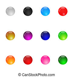 Collection Of Colorful Glossy Spheres. Set 1. Isolated. Vector Illustration