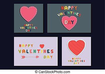 Collection of colorful greeting cards - doodle style. Happy valentines day