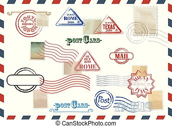Collection of colorful grungy stamps with text